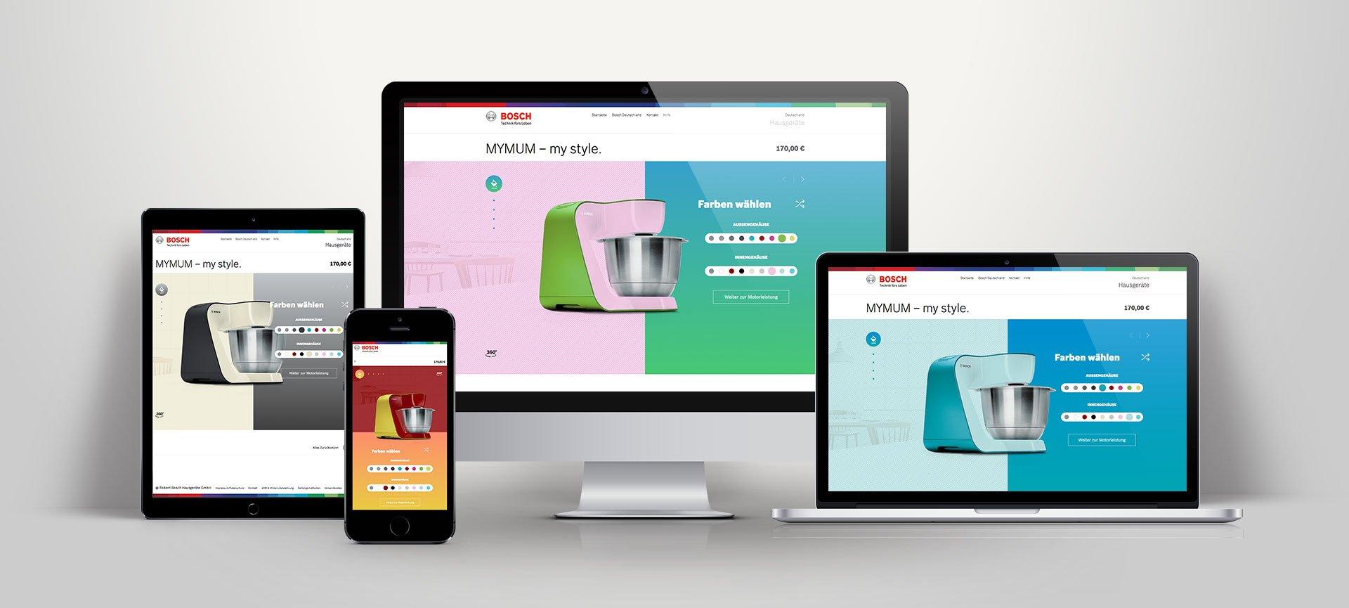 Die Münchener Agentur entwickelt einen Online-Konfigurator für die beliebte Küchenmaschine MUM 5 von Bosch Hausgeräte.